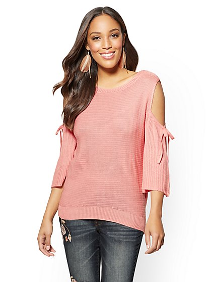 Cold-Shoulder Ruffled-Sleeve Sweater - New York & Company