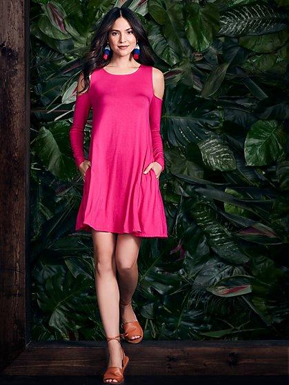Cold-Shoulder Swing Dress - New York & Company