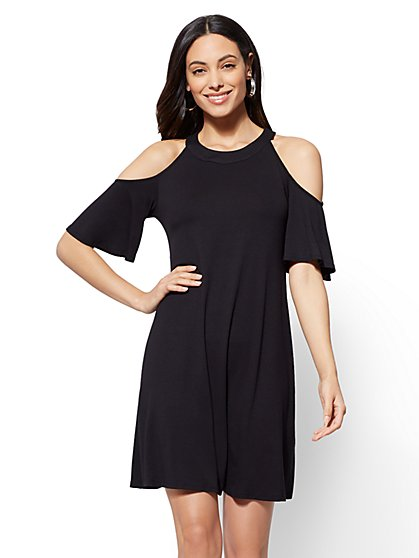 Cold-Shoulder Swing Dress - New York & Company