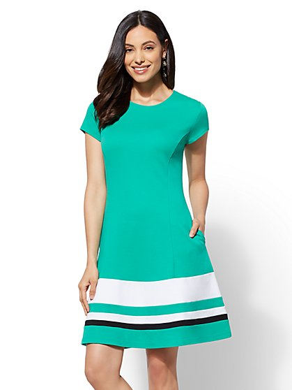 Colorblock Cotton Fit and Flare Dress - New York & Company
