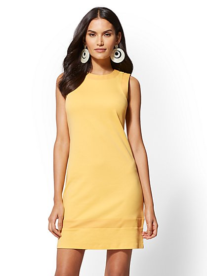 Colorblock Cotton Shift Dress - New York & Company