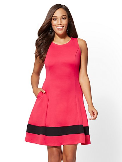 Colorblock Fit and Flare Cotton Dress - New York & Company