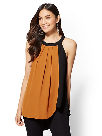 Colorblock Halter Blouse - New York & Company