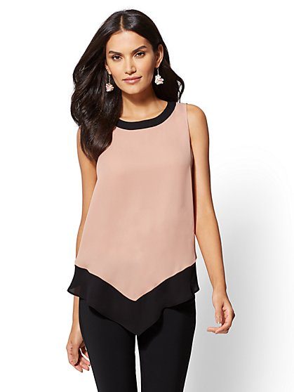 Colorblock Pointed-Hem Blouse - New York & Company