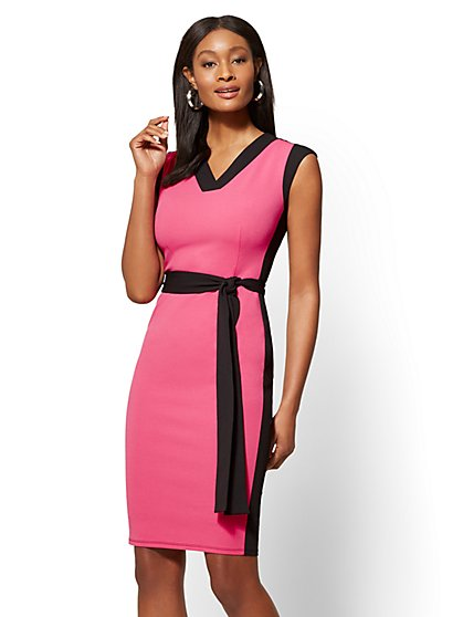 Colorblock V-Neck Sheath Dress - New York & Company