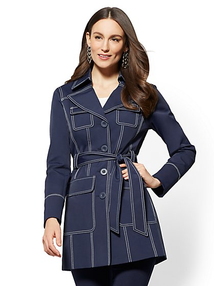 Contrast Topstitched Trench Coat - Navy - New York & Company