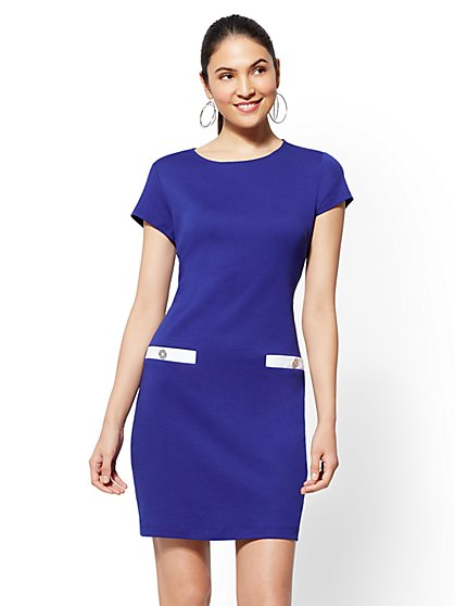 Contrast-Trim Cotton Shift Dress - New York & Company