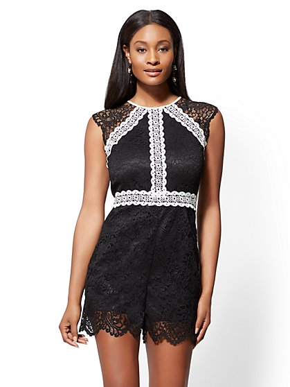 Contrasting Lace Romper - New York & Company