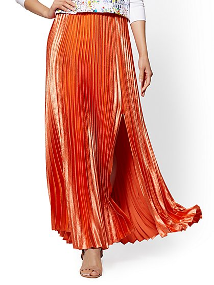 Coral Pleated Full Satin Skirt - New York & Company
