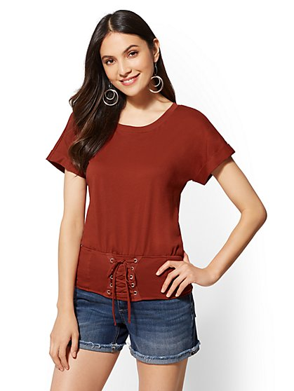 Corset-Accent Cotton Tee - New York & Company