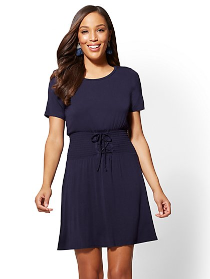 Corset-Detail Fit and Flare Tee Dress - New York & Company