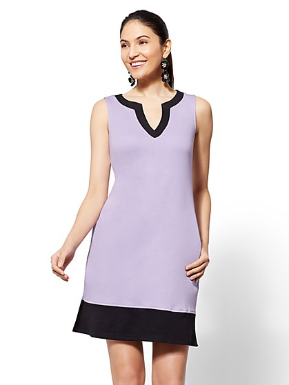 Cotton Colorblock Shift Dress - New York & Company
