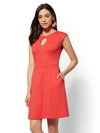Cotton Fit and Flare Dress - New York & Company