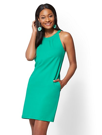 Cotton Halter Shift Dress - New York & Company