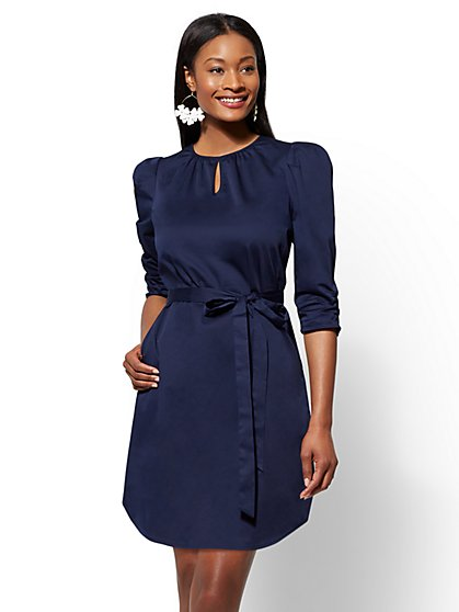 Cotton Puff-Sleeve Shift Dress - New York & Company