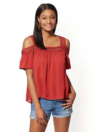 Crochet-Detail Cold-Shoulder Blouse - New York & Company