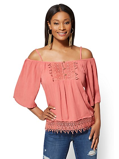 Crochet-Trim Cold-Shoulder Blouse - New York & Company