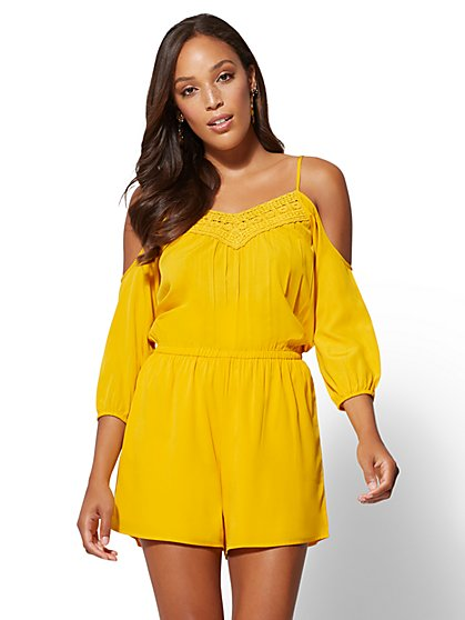 Crochet-Trim Cold-Shoulder Romper - New York & Company