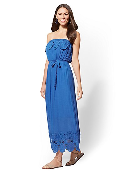 Crochet-Trim Flounced Maxi Dress - New York & Company