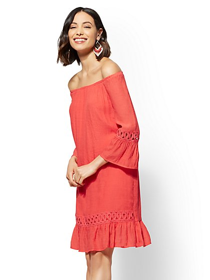 Crochet-Trim Off-The-Shoulder Shift Dress - New York & Company