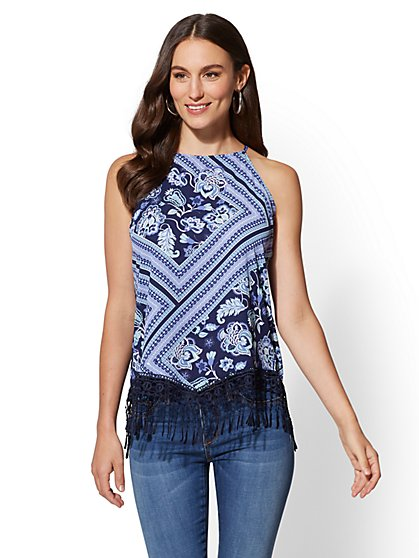 Crochet-Trim Print Halter Blouse - New York & Company