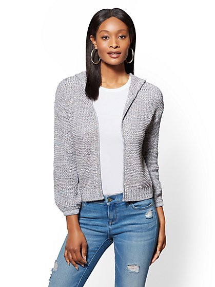 Cropped Hooded Marled Cardigan - New York & Company