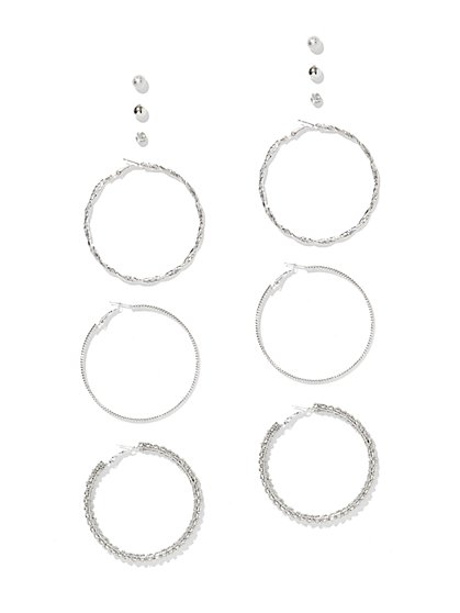 Dazzling 6-Piece Hoop & Post Earring Set - New York & Company