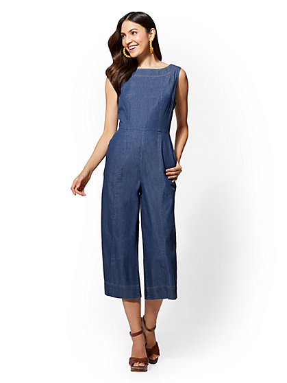 Denim Gaucho Jumpsuit - Indigo Blue Wash - New York & Company