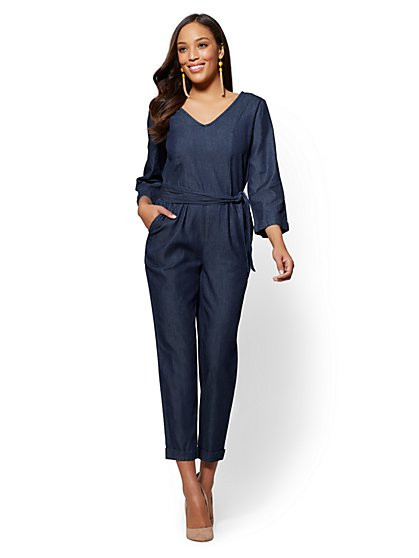 Denim V-Neck Jumpsuit - Rinse - New York & Company