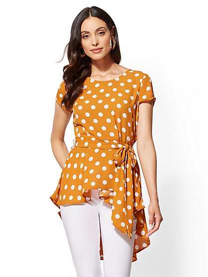 Dot-Print Belted Hi-Lo Top - New York & Company