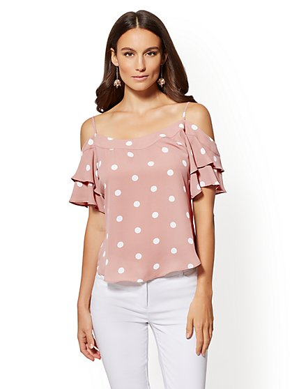Dot-Print Cold-Shoulder Blouse - New York & Company
