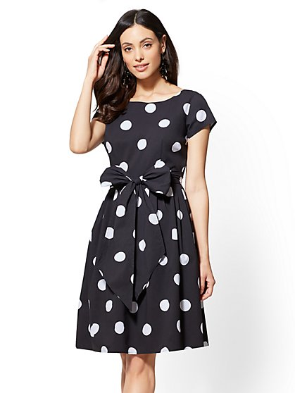 Dot-Print Poplin Fit and Flare Dress - New York & Company
