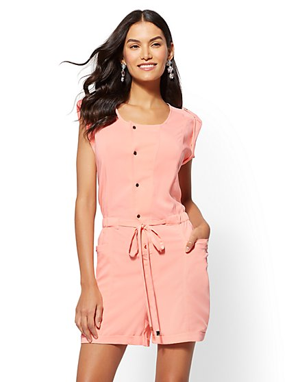 Drawstring-Tie Romper - New York & Company
