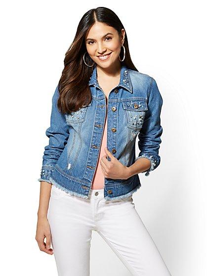 Embellished Destroyed Denim Jacket - New York & Company