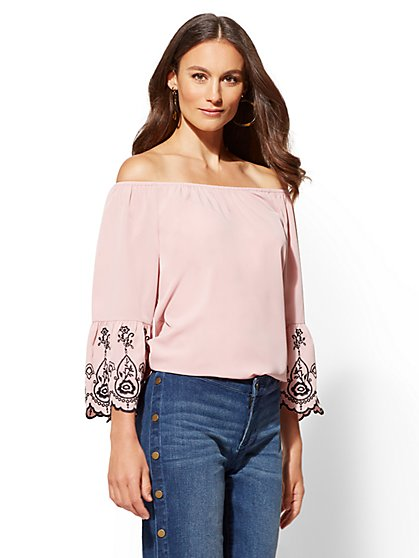 Embroidered Off-The-Shoulder Blouse - New York & Company