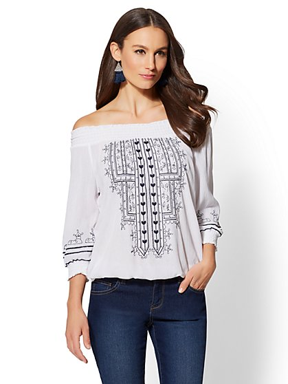 Embroidered Off-The-Shoulder Blouse - New York & Company ...