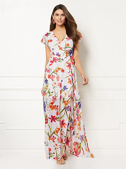 Eva Mendes Collection - Allison Print Wrap Maxi Dress - New York & Company
