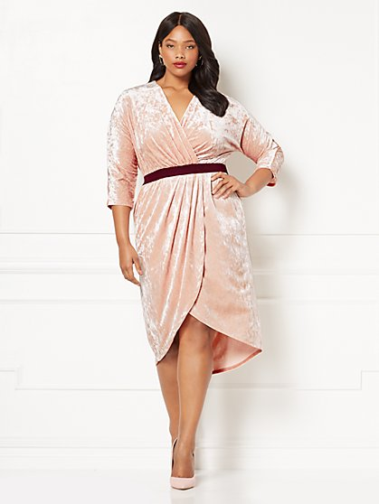 Eva Mendes Collection - Ani Velvet Wrap Dress - Plus - New York & Company