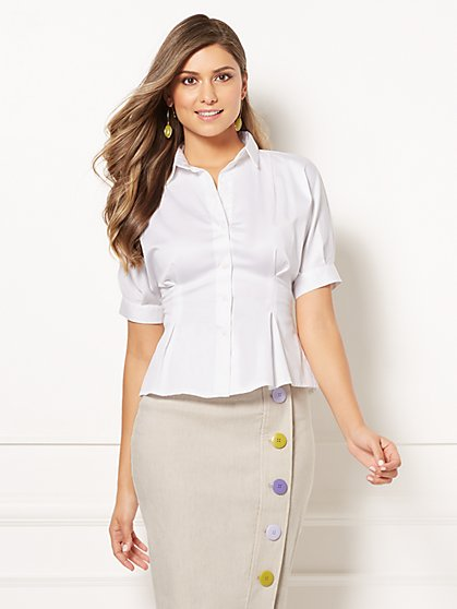 Eva Mendes Collection - Beth White Poplin Shirt - New York & Company