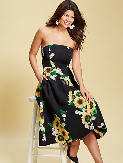 Eva Mendes Collection - Black Floral Del Mar Dress - New York & Company
