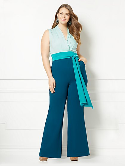 Eva Mendes Collection - Chalina Colorblock Jumpsuit - Plus - New York & Company