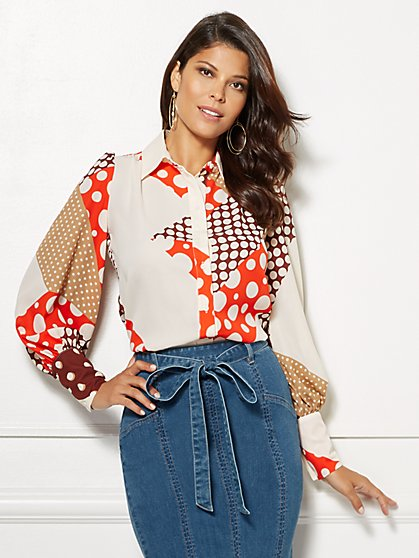 Eva Mendes Collection - Dot-Print Kelsey Blouse - New York & Company
