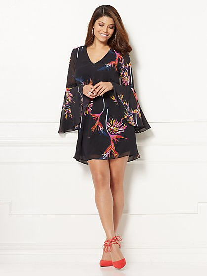 Eva Mendes Collection - Estera Bell-Sleeve Dress - Floral - New York & Company