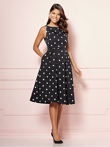 Eva Mendes Collection - Felicity Black Fit and Flare Dress - New York & Company