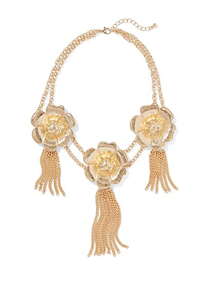 Eva Mendes Collection - Floral & Tassel Statement Necklace - New York & Company