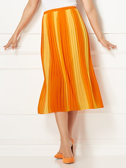 Eva Mendes Collection - Gianna Orange Pleated Skirt - New York & Company