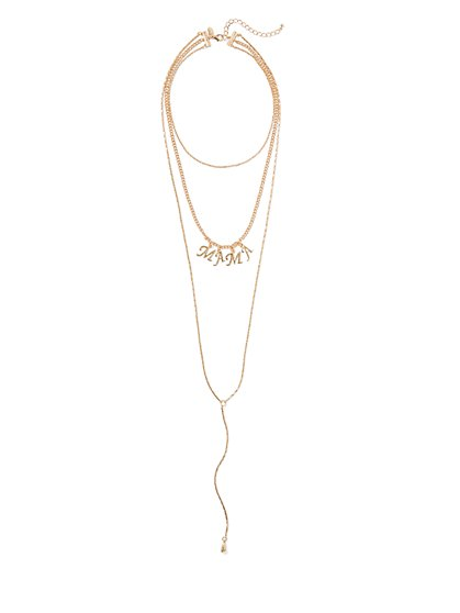 "Eva Mendes Collection - Goldtone Layered ""Mama"" Necklace - New York & Company"