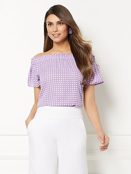 Eva Mendes Collection - Inez Print Off-The-Shoulder Blouse - New York & Company