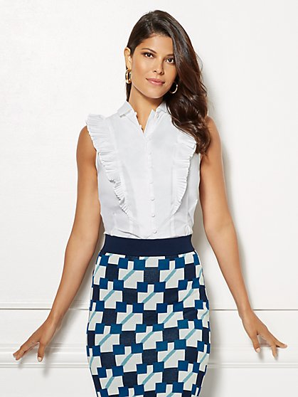 Eva Mendes Collection - Kaitlin Pleated Poplin Shirt - New York & Company