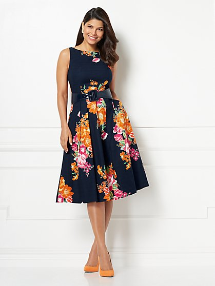 Eva Mendes Collection - Petite Felicity Fit and Flare Dress - New York & Company